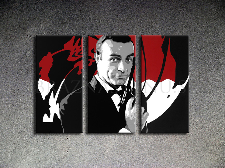 Malovaný POP ART obraz na stěnu James Bond
